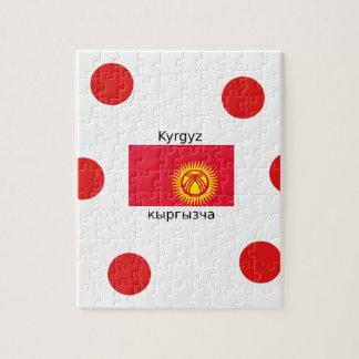 Puzzle Langue et conception kirghiz de drapeau du