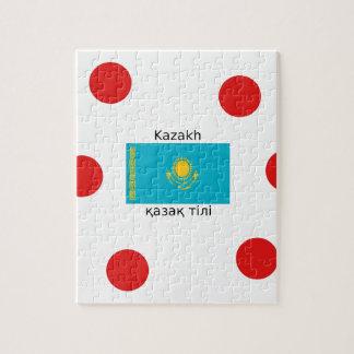 Puzzle Langue kazakh et conception de drapeau de