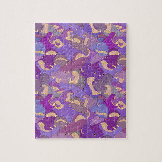 Puzzle Laughing Hippos - purple