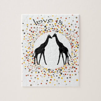 """Puzzle le """"amour est"""" cercle élégant de points d'animal"""