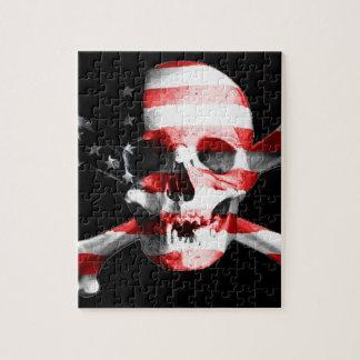 Puzzle Le drapeau américain superposé à un crâne