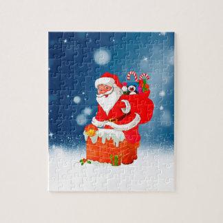 Puzzle Le père noël mignon avec l'étoile de neige de Noël