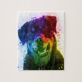 Puzzle Les couleurs de l'amour sont un rottweiler