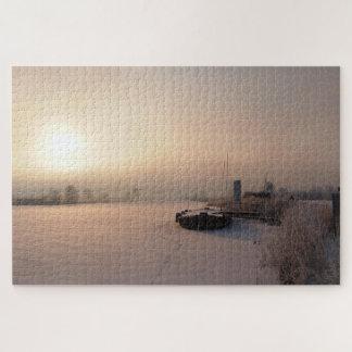 Puzzle Lever de soleil doux d'hiver dans Pays-Bas