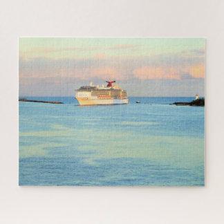 Puzzle Lever de soleil en pastel avec le bateau de