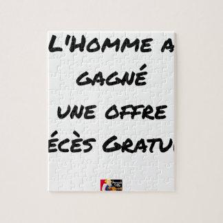 PUZZLE L'HOMME A GAGNÉ UNE OFFRE DÉCÈS GRATUIT