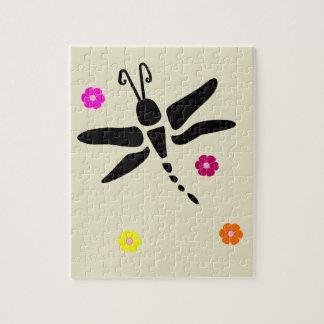 Puzzle libellule et fleurs