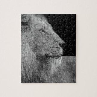 Puzzle LION le roi de LION de la jungle en noir et blanc