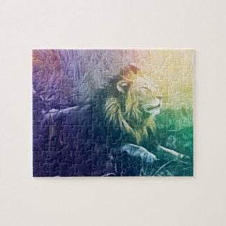 Puzzle Lion masculin de fractale d'arc-en-ciel prenant un