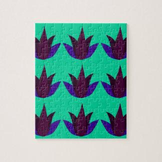 Puzzle Lotus sur cyan