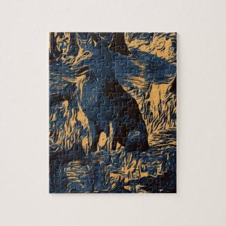Puzzle loup dans les bois