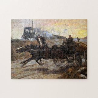 Puzzle Machine à vapeur et équipe de chevaux
