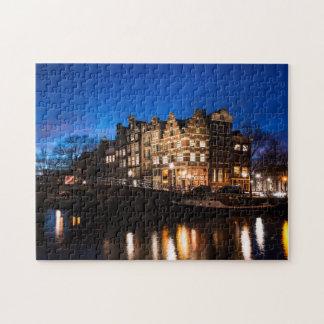 Puzzle Maisons de canal d'Amsterdam la nuit