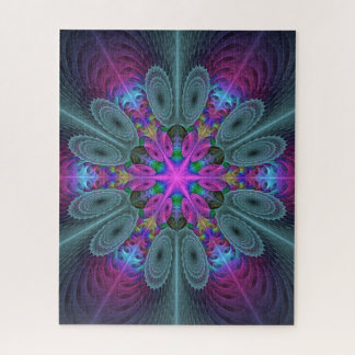 Puzzle Mandala d'art coloré central de fractale avec le
