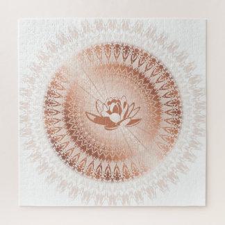 Puzzle Mandala rose de Lotus blanc d'or