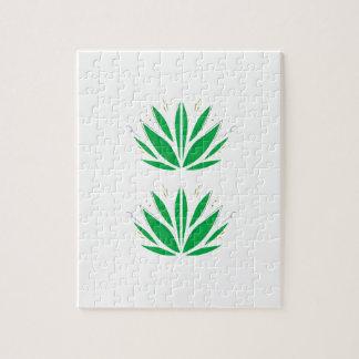 Puzzle Mandala vert sur le blanc