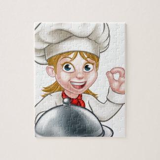 Puzzle Mascotte de personnage de dessin animé de femme de
