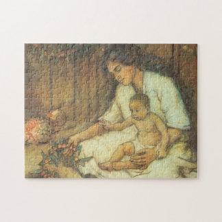 Puzzle Mère et enfant hawaïens
