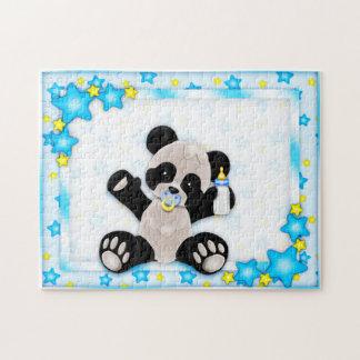Puzzle mignon d'ours panda de bébé bleu