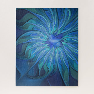 Puzzle Motif bleu d'imaginaire de fleur, art abstrait de