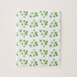 Puzzle Motif de fleurs vert