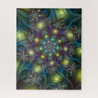 Puzzle Motif pourpre bleu moderne lumineux de fractale