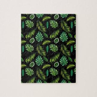 Puzzle Motif tropical Tiki floral fait main de feuille