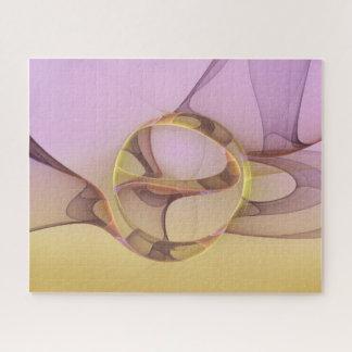 Puzzle Mouvements abstraits, fractale jaune rose-clair