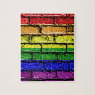 Puzzle Mur de briques coloré de drapeau de fierté