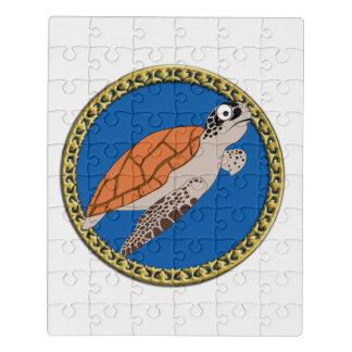 Puzzle Natation orange de tortue de mer avec un cadre