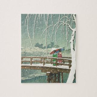 Puzzle Neige au paysage d'art d'hiver de Hasui Kawase de