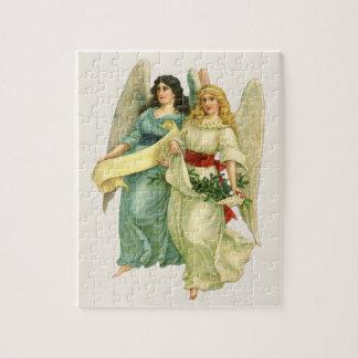 Puzzle Noël vintage, anges victoriens angéliques