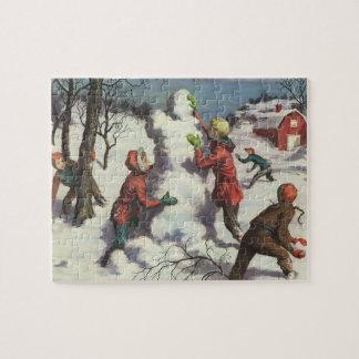 Puzzle Noël vintage, combat de Snowball d'enfants