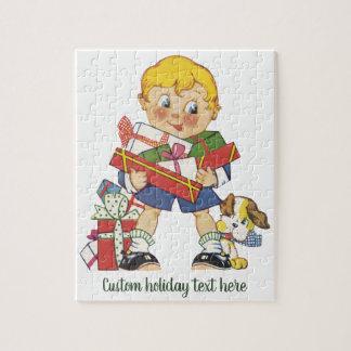Puzzle Noël vintage, garçon avec des présents et chiot