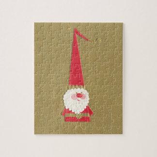 Puzzle Noël vintage, gnome mignon du père noël sur l'or