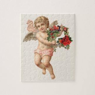 Puzzle Noël vintage, guirlande florale victorienne de