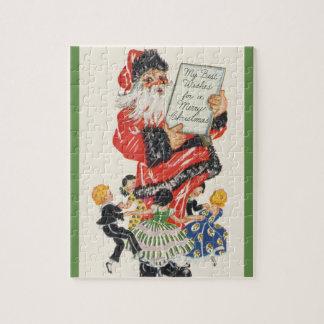 Puzzle Noël vintage le père noël et danse d'enfants