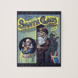 Puzzle Noël vintage, le père noël et son livre de travaux