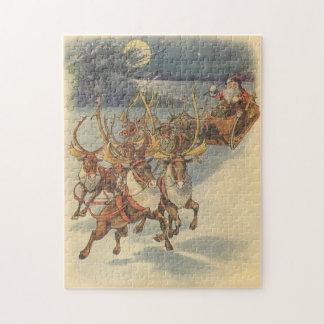 Puzzle Noël vintage le père noël Sleigh avec le renne