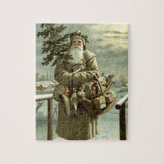Puzzle Noël vintage, le père noël victorien avec des