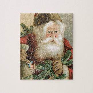 Puzzle Noël vintage, le père noël victorien avec le pin