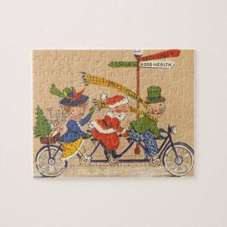 Puzzle Noël vintage, le père noël victorien sur le vélo