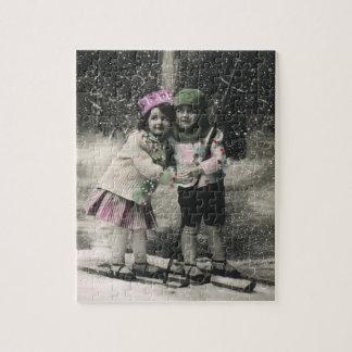 Puzzle Noël vintage, meilleurs amis sur des skis