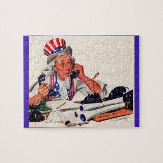 Puzzle Oncle Sam des années 1940 au téléphone