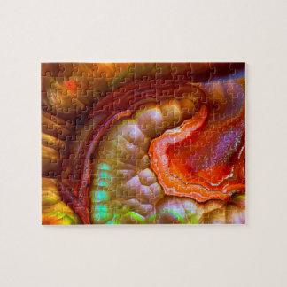 Puzzle Opale de feu iridescente rouge