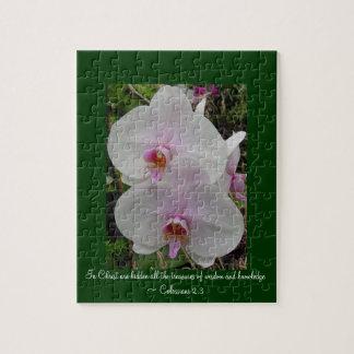 Puzzle Orchidée - fleur rose (Colossians 2 : 3)