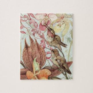 Puzzle Orchidées tropicales vintages, fleurs et colibris