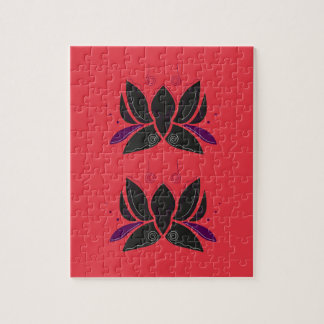 Puzzle Ornement noir rouge de Lotus