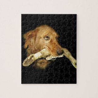 Puzzle Os de transport de dents de cheval de chien drôle