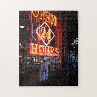 Puzzle Ouvrez 24 heures de signe au néon New York City